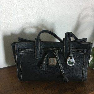 Dooney & Bourke Black Pebbled Leather Tassel Tote